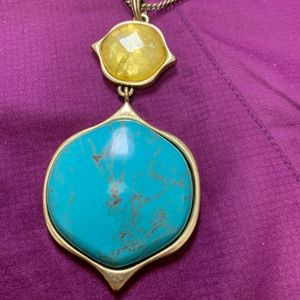 Lucky Brand Yellow and Turquoise Color Necklace
